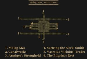 TES3 Morrowind - Molag Mar - Waistworks locations map