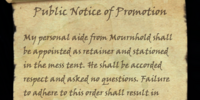 Public Notice of Promotion