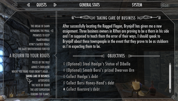 Quests (Skyrim) Interface
