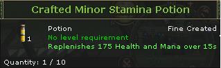 Crafted Minor Stamina Potion