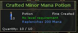 Crafted Minor Mana Potion
