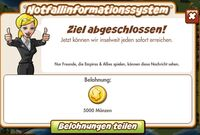 Notfallinformationssystem Belohnung (German Reward text)