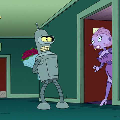 Bender arrives at Fanny's door with flowers.
