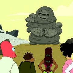 The crew & passengers meet the large rock monster
