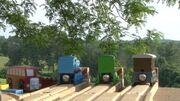 Thomas, Percy, Toby, and Bertie at Look-Out Point