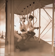 Wright Brothers On Their Biplane