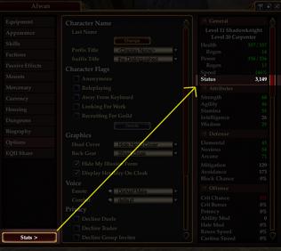 Character Window Status