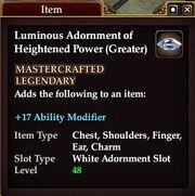 Luminous Adornment of Heightened Power (Greater)