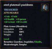 Steel platemail pauldrons