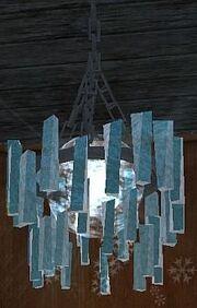 Frost-rimed chandelier (Visible)