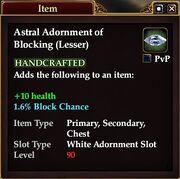 Astral Adornment of Blocking (Lesser)