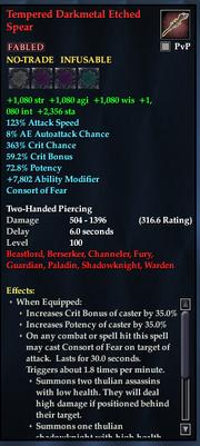 Tempered Darkmetal Etched Spear