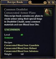 Common Deathfist Consecrated Armor Plans