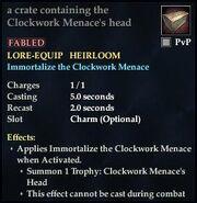 A crate containing Clockwork Menaces head