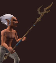 Golden Droag Halberd (Equipped)