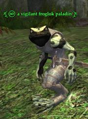 A vigilant froglok paladin