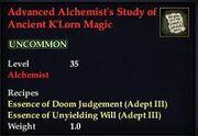 Advanced Alchemist's Study of Ancient K'Lorn Magic