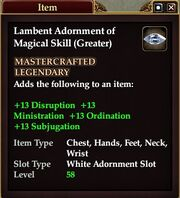 Lambent Adornment of Magical Skill (Greater)