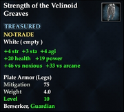 Strength of the Velinoid Greaves