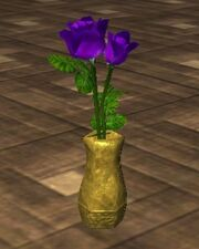 Purple Roses in an Oval Vase (Visible)