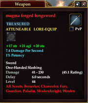 Magma forged longsword
