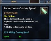 Focus- Lesser Casting Speed