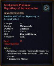 Mechanized Platinum Repository of Reconstruction