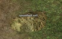 Unearthed soil