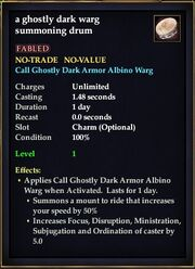 A ghostly dark warg summoning drum