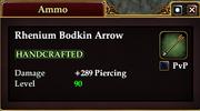 Rhenium Bodkin Arrow