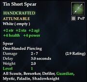 Tin Short Spear