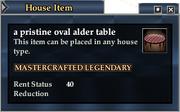A pristine oval alder table