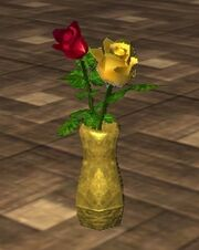 Red and Yellow Roses in an Oval Vase (Visible)