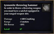 Tynnonite throwing hammer