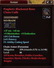 Prophet's Blackened Bone Chain Cuffs