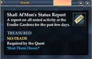 Shafi Af'Mon's Status Report