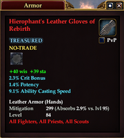 Hierophant's Leather Gloves of Rebirth