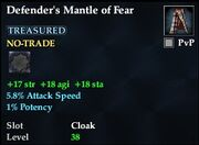 Defender's Mantle of Fear