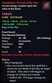 Gaudralek, Sword of the Sky