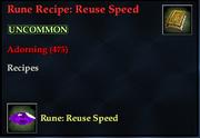 Rune Recipe- Reuse Speed