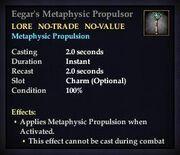 Eegar's Metaphysic Propulsor