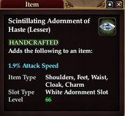 Scintillating Adornment of Haste (Lesser)