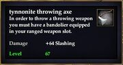 Tynnonite throwing axe