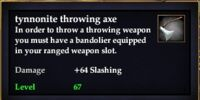 Tynnonite throwing axe