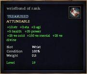 Wristband of rank