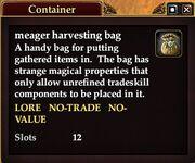 Meager harvesting bag