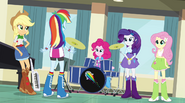 Rainbow Dash addresses her bandmates EG2