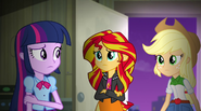 Twilight, Sunset, and Applejack confused EG2