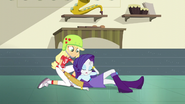 Rarity collapsed in Applejack's arms EG3