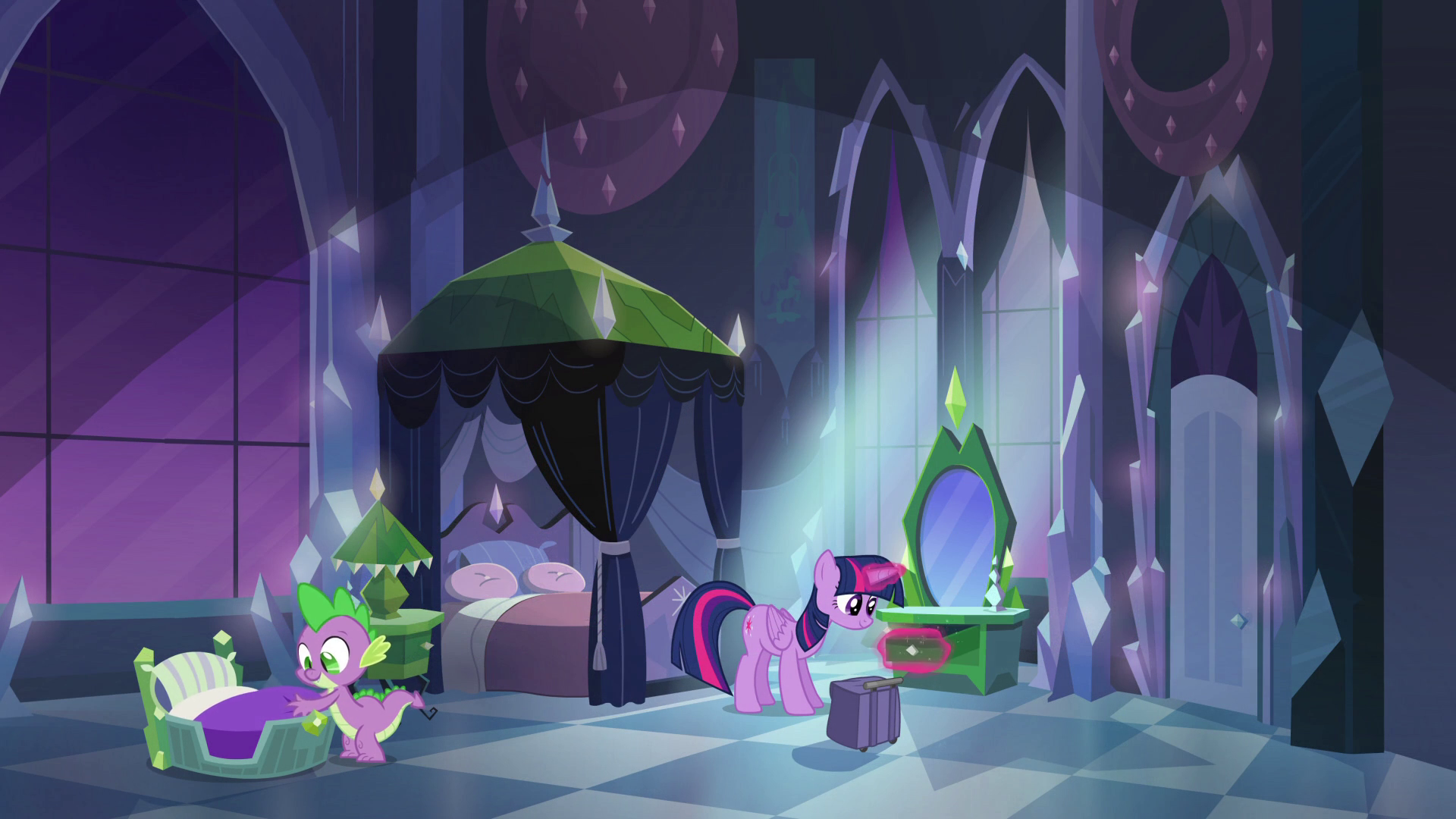 Archivo:Twilight and Spike in Empire bedroom EG.png